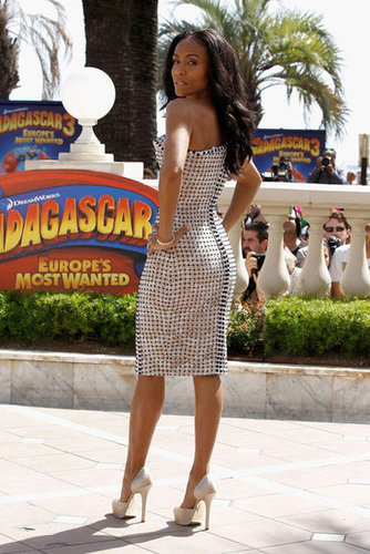 A back shot of Jada's strapless Versace number and Salvatore Ferragamo heels at the first (of two) Madagascar 3 photocalls.