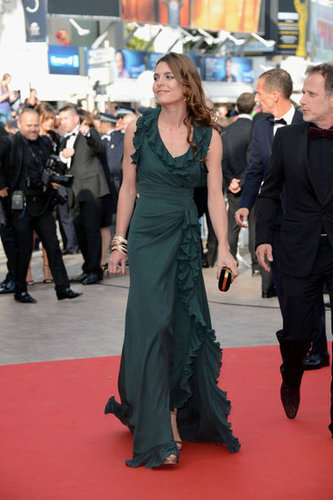 Charlotte Casiraghi walked the Madagascar 3 red carpet in a dark green Gucci number, complete with a ruffled neckline and hem.
