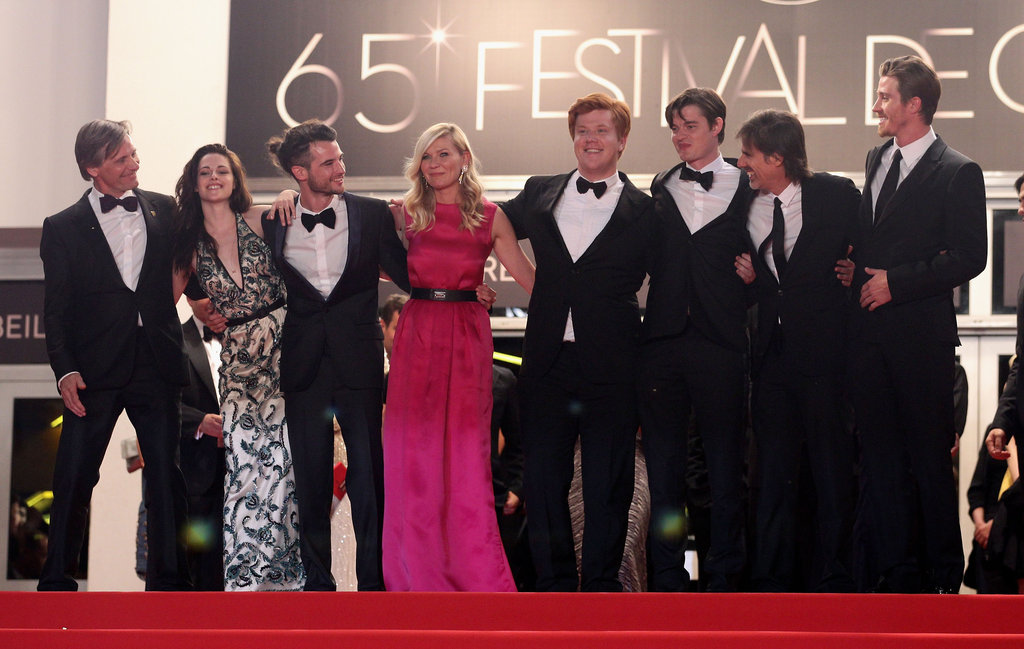The cast of On the Road gathered at the top of the stairs at their Cannes premiere on May 24.
