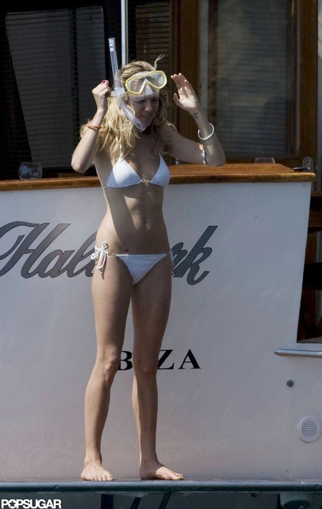 Sienna Miller stuck with a string bikini in Ibiza during her August 2009 vacation.