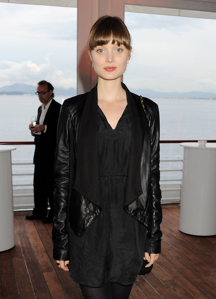 A closeup of Bella Heathcote's drape-front leather jacket at the IWC Filmmakers dinner.