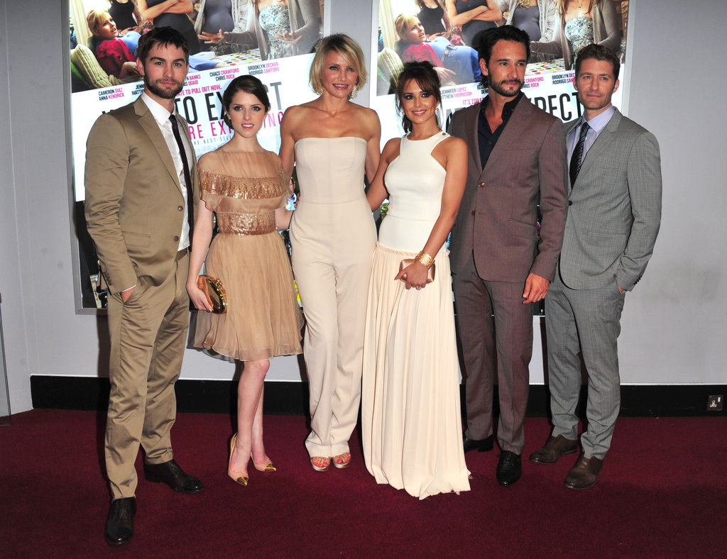 "Chace Crawford, Anna Kendrick, Cameron Diaz, Cheryl Cole, Rodrigo Santoro and Matthew Morrison posed at the UK premiere of ""What to Expect When You're Expecting."""