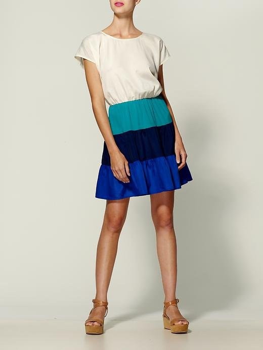 Channel the colorblocked trend in this pretty frock.  Chandi and Lia Colorblock Stripe Dress ($49)