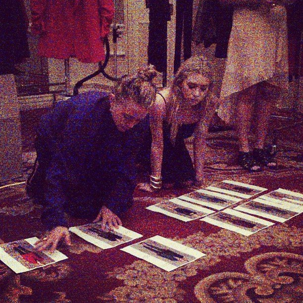 Mary-Kate and Ashley Olsen pored over looks for their Elizabeth and James collection.  Source: Instagram user elizandjames