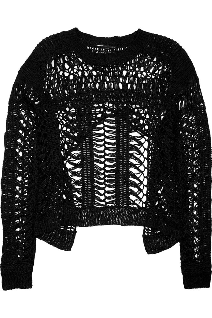 Team this pretty knit sweater over a gray tank and printed skirt or shorts.  Theyskens' Theory Crochet-Knit Sweater ($395)