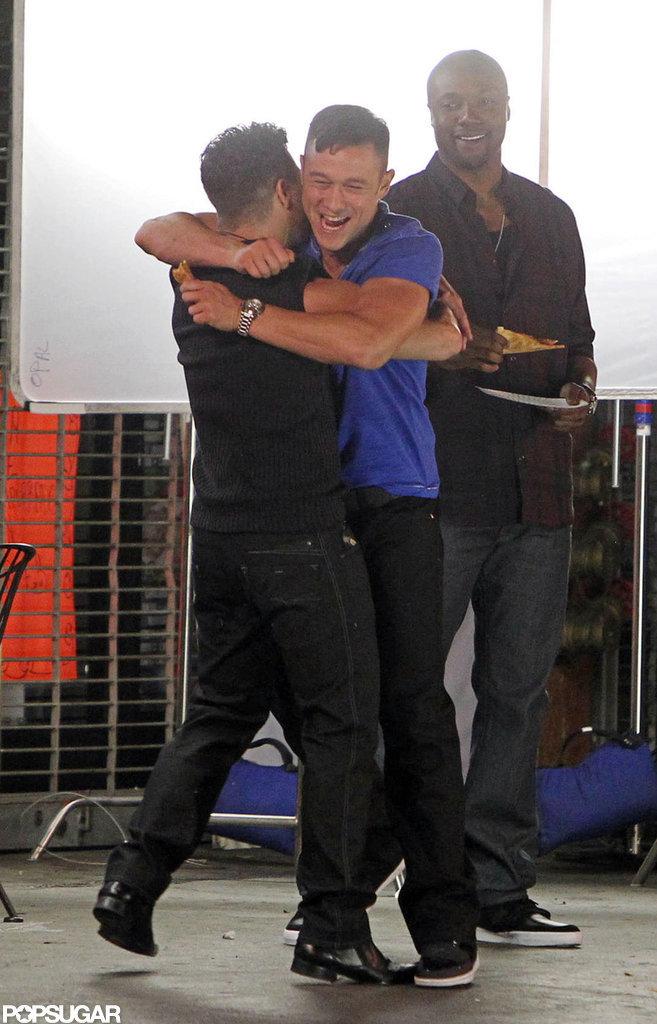 Joseph Gordon-Levitt hugged a buddy on the set of his new film.
