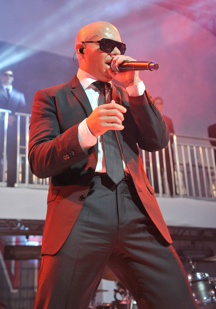 Pitbull performed at the Men in Black III after party in NYC.