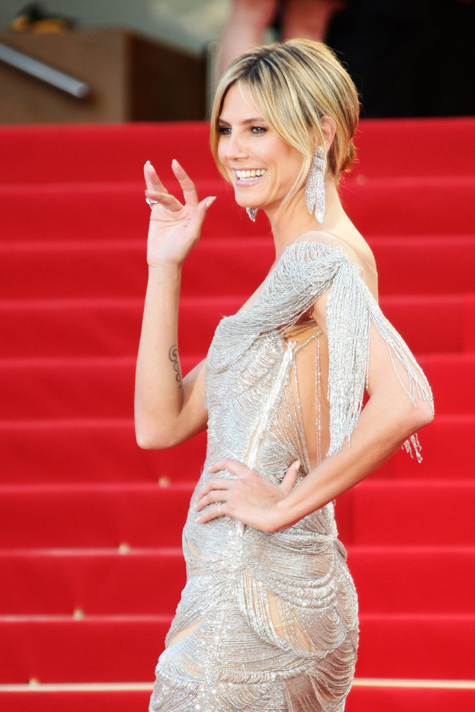 Heidi Klum waved to the crowd in Cannes.