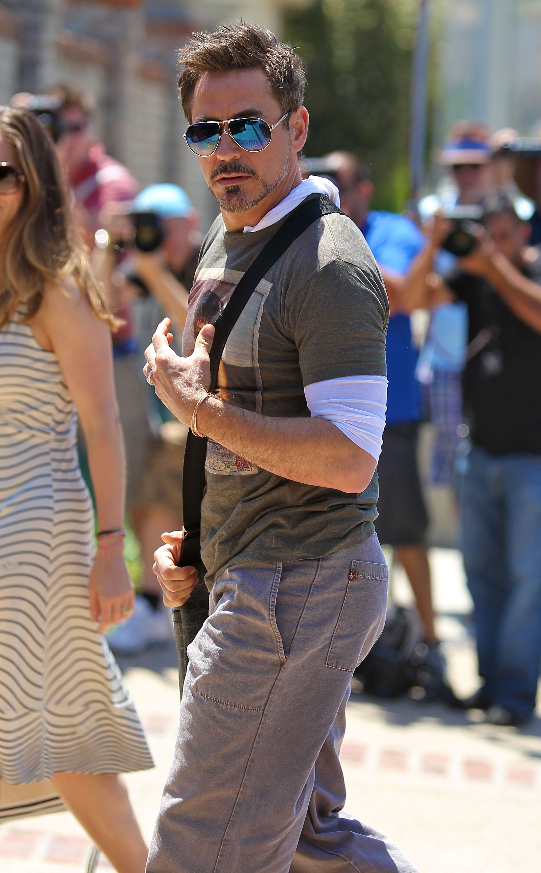 Robert Downey Jr. walked into Joel Silver's Memorial Day party in LA.
