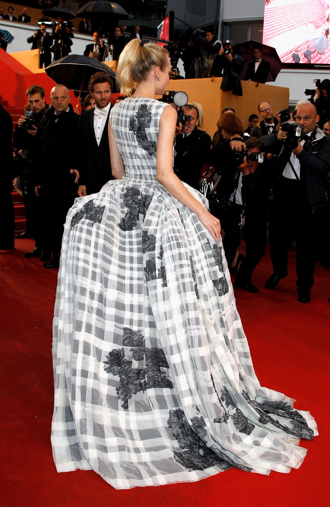 The back of Diane's ultracool Christian Dior Couture gown on the closing ceremony's red carpet.