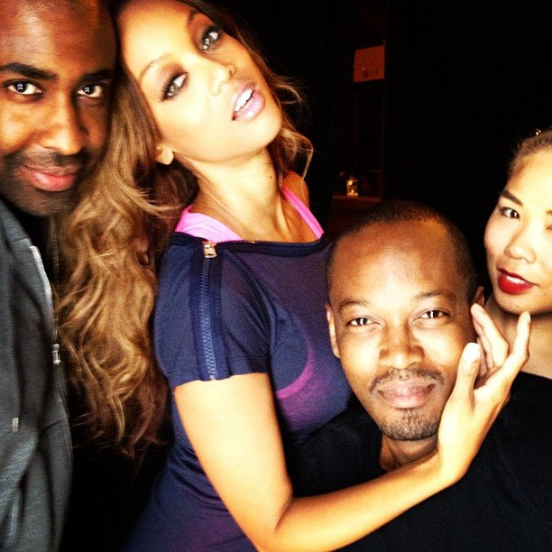 Tyra Banks struck a pose with her glam squad.  Source: Instagram user tyrabanks