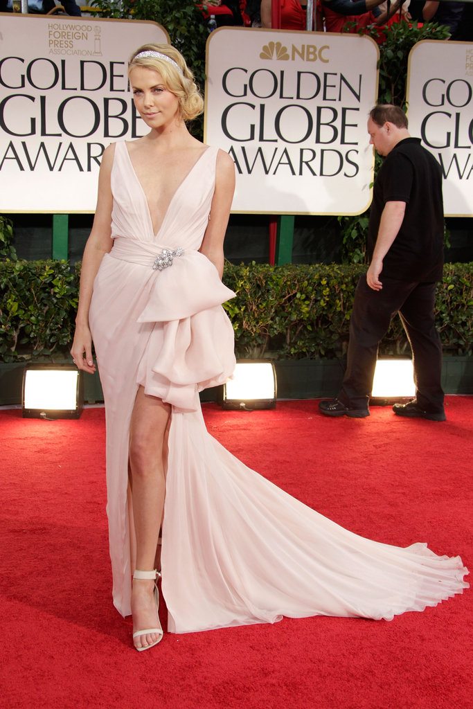 Her stunning pale pink ballerina-inspired Dior gown turned a lot of heads at the 2012 Golden Globe Awards — not to mention, we're obsessed with those sandals!