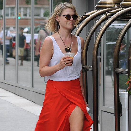 Ali Larter Red Slit Skirt