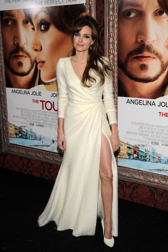 Angelina Jolie wore a sexy high-slit dress to the December 2010 NYC premiere of The Tourist.