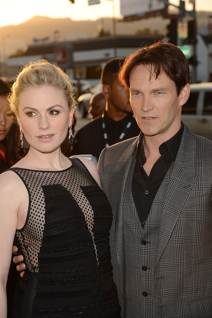 Stephen Moyer and Anna Paquin had their arms around each other as they arrived at the premiere in Hollywood.