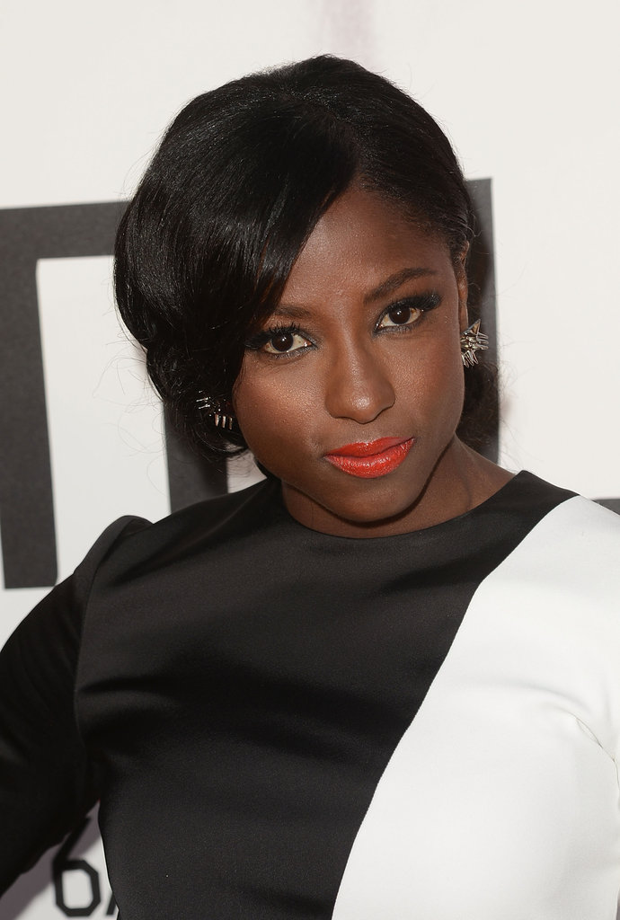 Rutina Wesley paired her two-toned dress with a bright lip color.