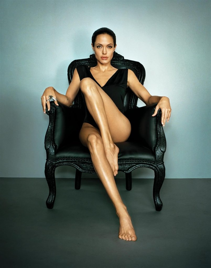 Angelina Jolie showed a lot of leg for her July 2007 Esquire feature.