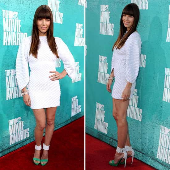 Pictures of Jessica Biel in Chanel White Dress on the red carpet at the 2012 MTV Movie Awards: Rate it or Hate it?
