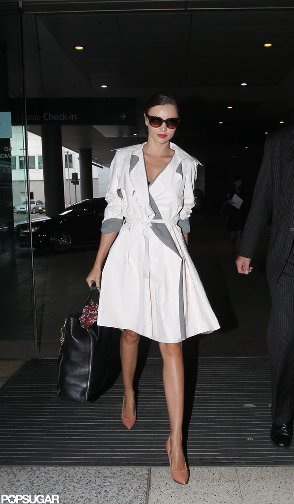 Miranda Kerr wore a trench coat.