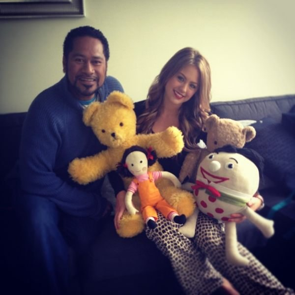 Jesinta Campbell was star struck to meet some of Play School's iconic toys (and Jay Laga'aia) backstage at Mornings. Source: Twitter user JesintaCampbell