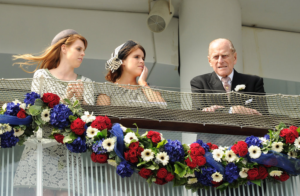 Princesses Beatrice and Eugenie watched the races with Prince Philip.