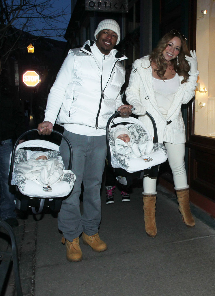 Nick Cannon and wife Mariah Carey took their twins out in Aspen during a December 2011 trip.