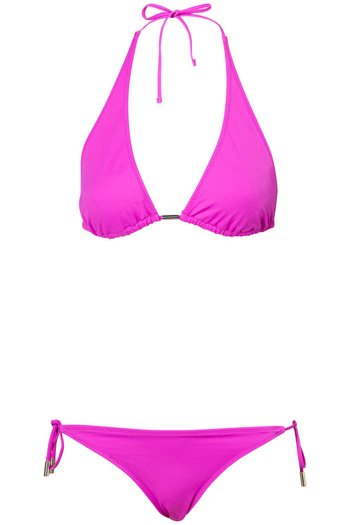 This bold fuchsia suit will look great on all skin tones.  Topshop Bright Violet Triangle Bikini ($36)