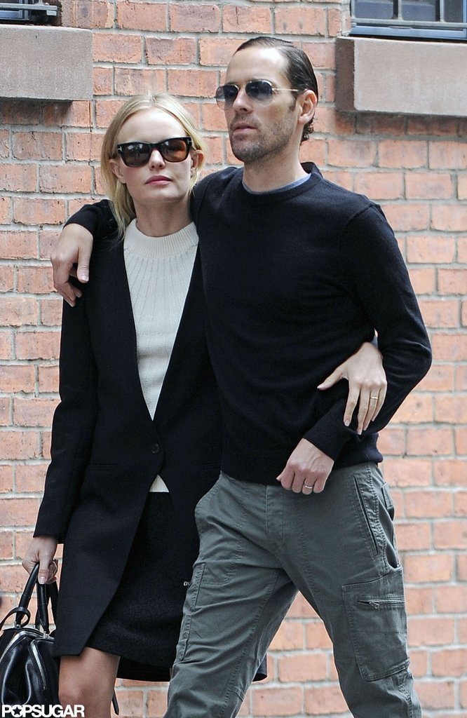 Kate Bosworth and boyfriend Michael Polish held each other tight while strolling through the West Village in NYC.