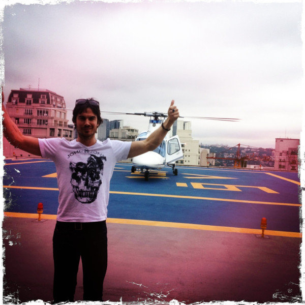 Ian Somerhalder landed in Sao Paulo, Brazil. Source: Twitter user iansomerhalder
