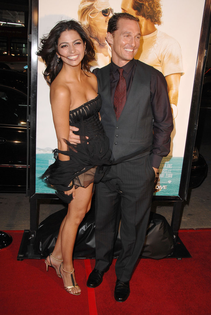 Matthew McConaughey and Camila Alves smiled big at the LA premiere of Fools Gold in January 2008.