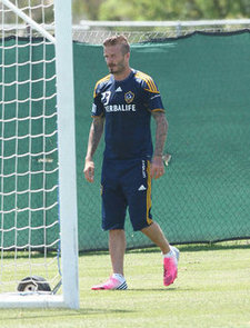 David Beckham With Mustache at LA Galaxy Practice Pictures