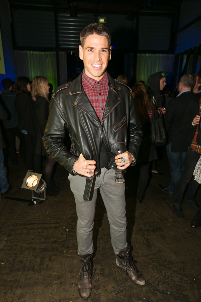 Didier Cohen wore a leather jacket to the launch party for Spotify in Sydney on June 14.