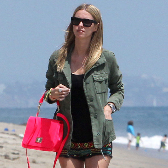 Nicky Hilton Embroidered Shorts and Hot Pink Bag