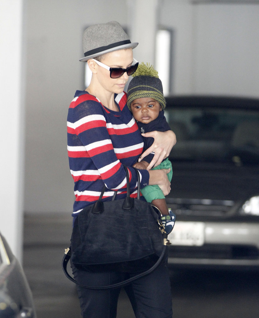 Charlize Theron held baby Jackson closely in Beverly Hills.