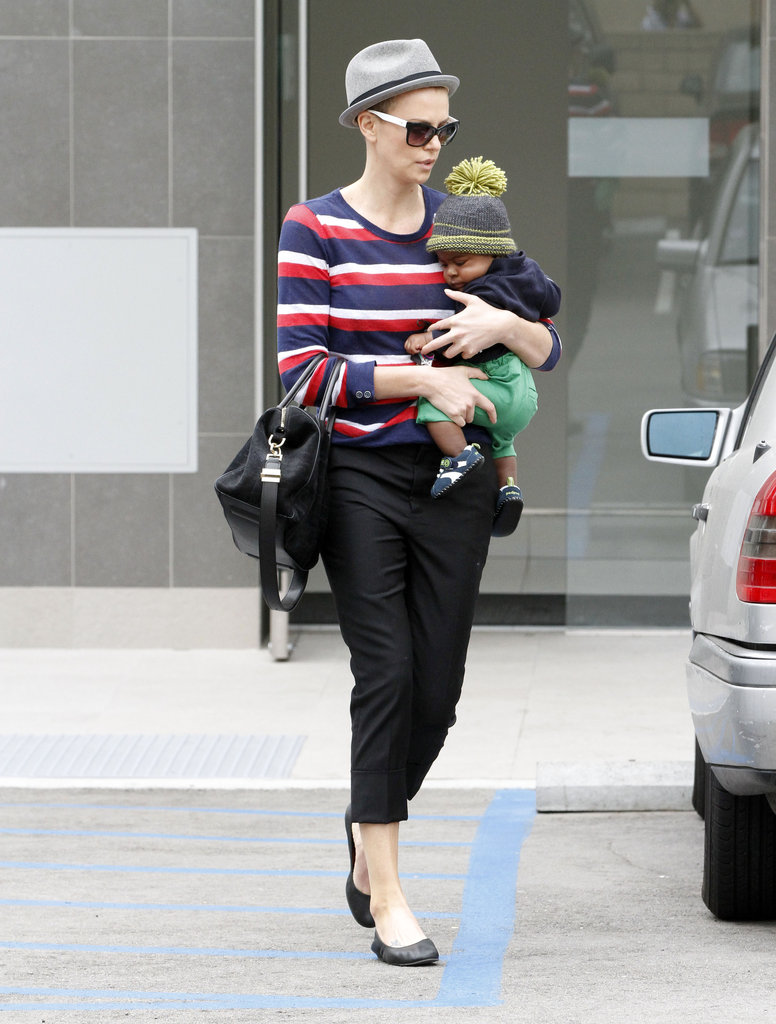 Charlize Theron kept in casual in Beverly Hills as she and Jackson ran  errands.