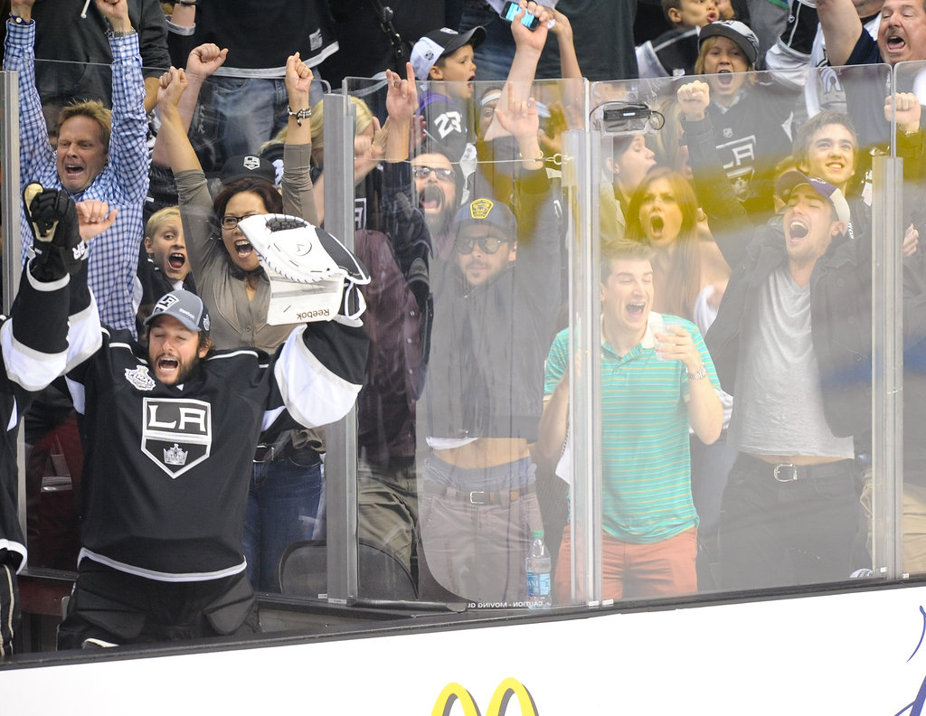 Zac Efron got excited at the LA Kings Stanley Cup final game.