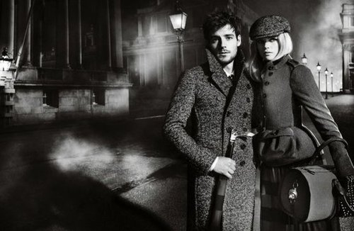 Gloomy weather and traditional tweed coat silhouettes rule in Burberry's Fall '12 campaign.