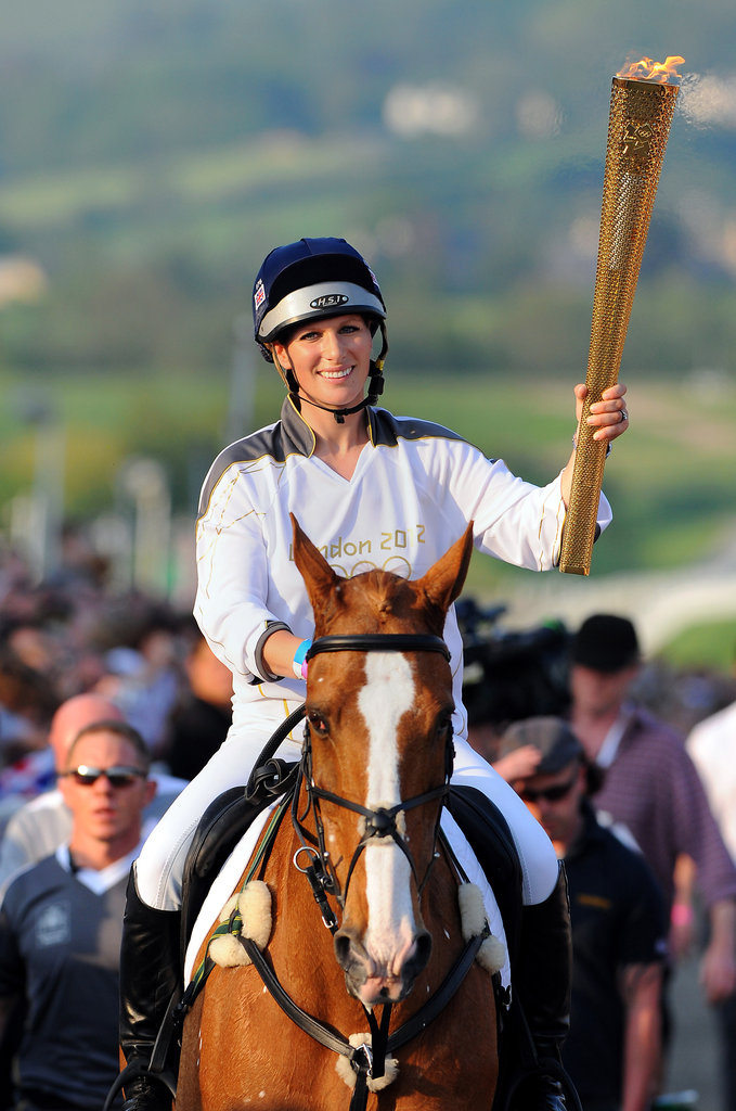 Zara carried the Olympic torch in May 2012.
