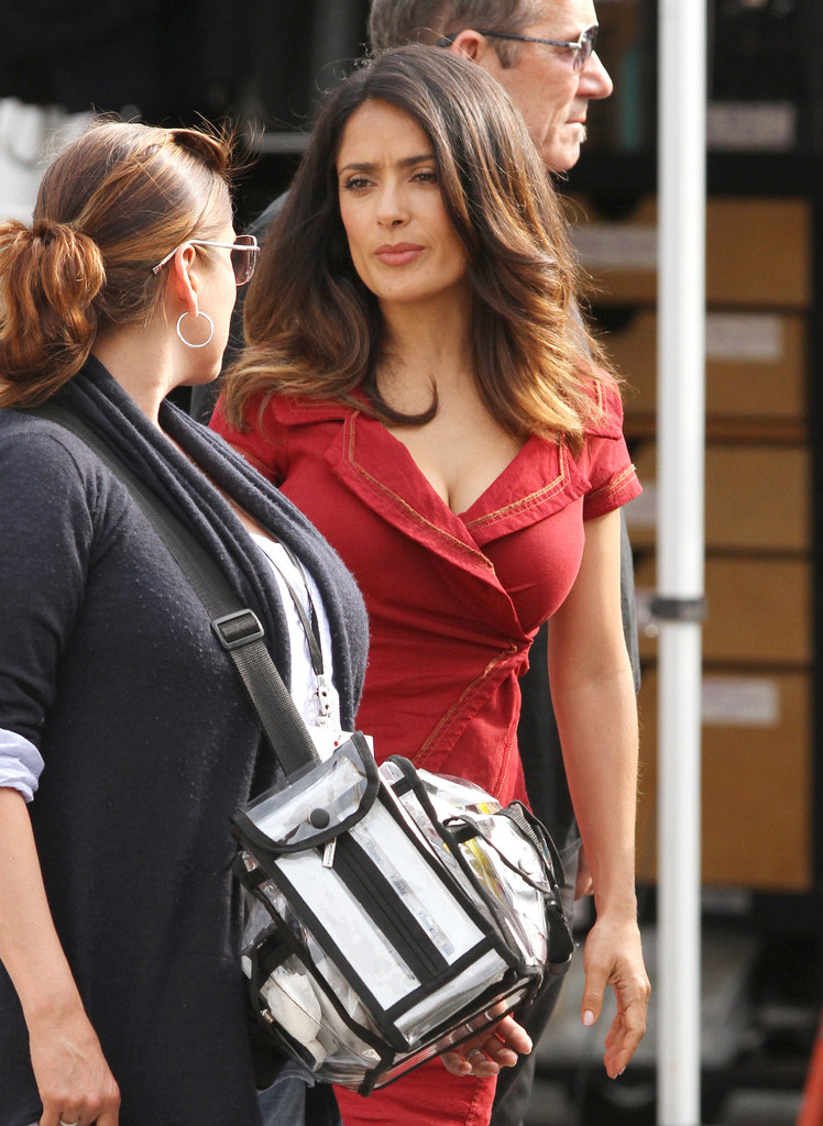 Salma Hayek chatted with a makeup artist.