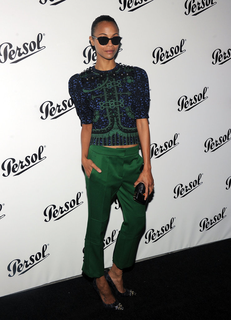 Zoe Saldana sported a Louis Vuitton getup at the Persol Magnificent Obsessions event in NYC.