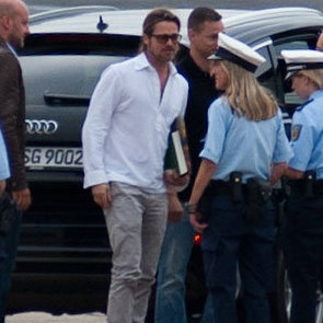 Brad Pitt Looking Hot on the Tarmac as He Leaves Germany