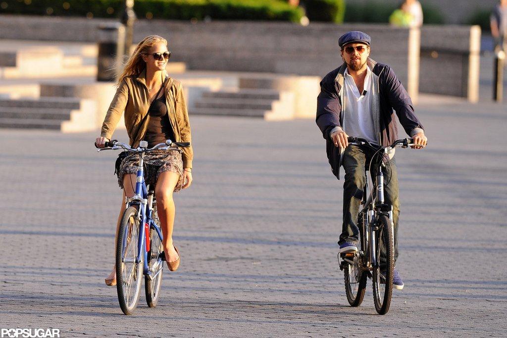 Leonardo DiCaprio and his Victoria's Secret Angel girlfriend, Erin Heatherton, biked together.