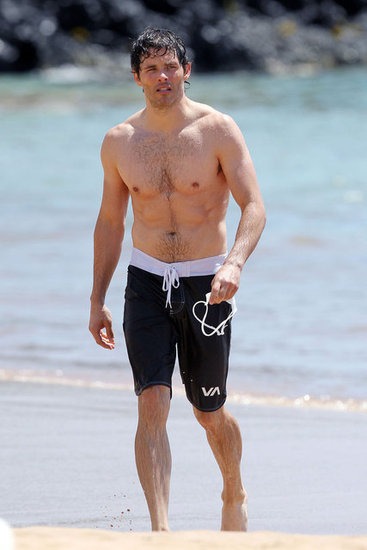 James Marsden took a dip in the water in Maui.