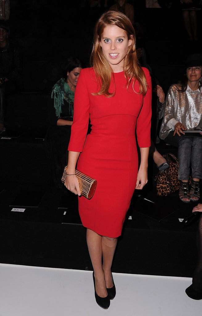 For her front-row Fashion Week appearance at Elie Saab in 2012, the princess slipped into a totally modern red sheath.