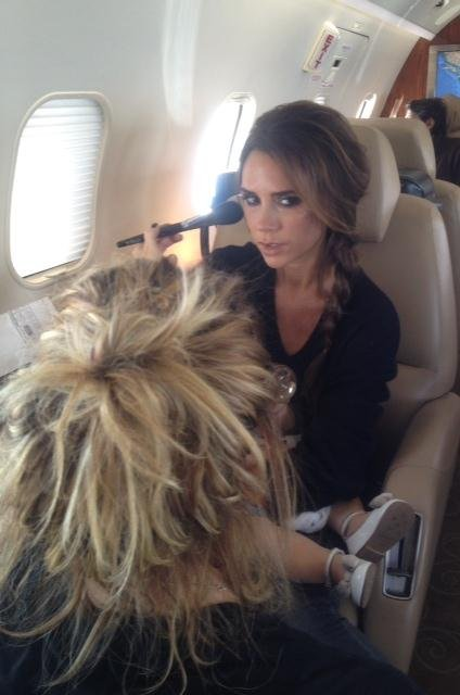 Victoria Beckham got her hair and makeup done mid-flight. Source: Twitter user victoriabeckham