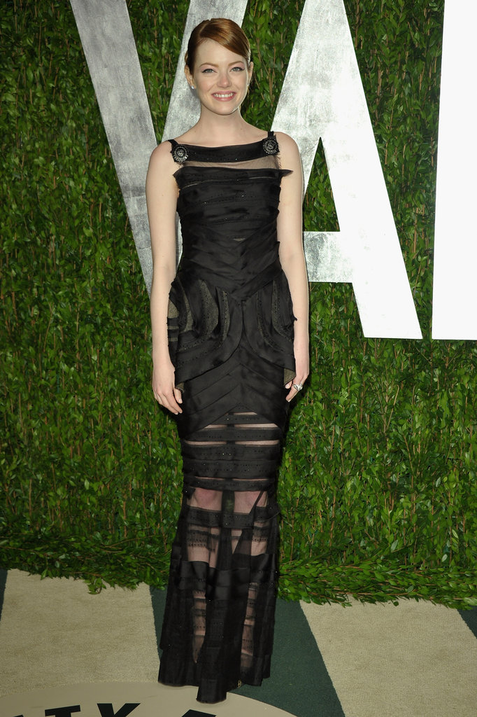 She slipped into this slinky black Chanel Couture gown for Vanity Fair's Oscar party in 2012.