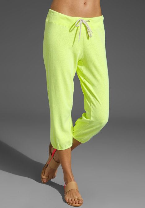 Every girl needs a pair of go-to sweats. Make yours the coolest kind in a neoprene citrus that you won't be embarrassed to wear outside the house.   Monrow 3/4 Vintage Sweats ($90)
