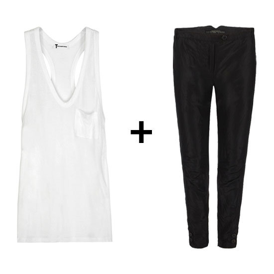 Pair a slouchy white tank top with luxe black trousers for a quick exercise in sophisticated off-duty tailoring. It's a more relaxed take on separates, but the clean juxtaposition of dark and light gives it a more timeless feel. Get the Look:   T by Alexander Wang Classic Pocket Tank ($74)  AllSaints Etoile Pant ($158)