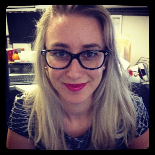 Alison trialling the Max Factor Flipstick — no one in the office was up for the kiss test...