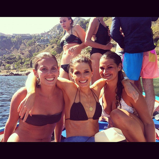 Bikini-clad Kate Waterhouse enjoyed pre-wedding fun with her friends in Italy. Source: Instagram user katewaterhouse7